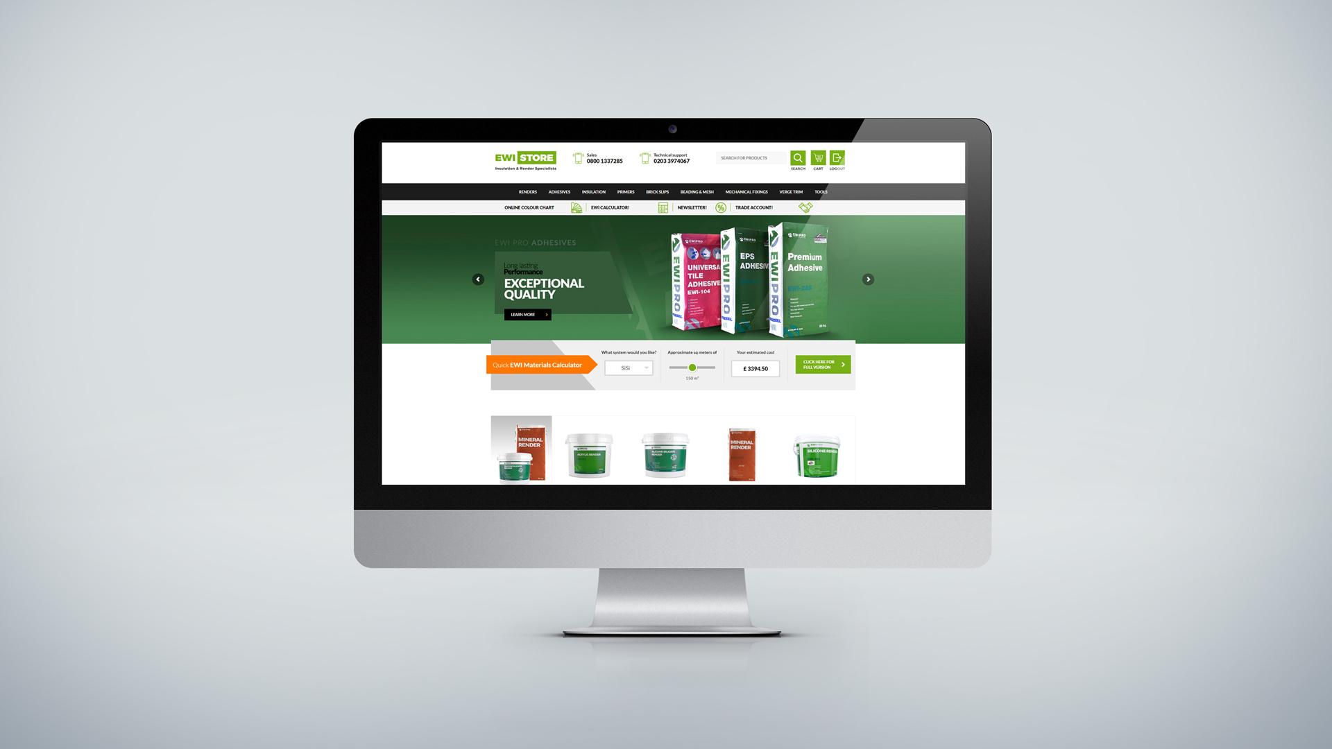 EWI Store website screen